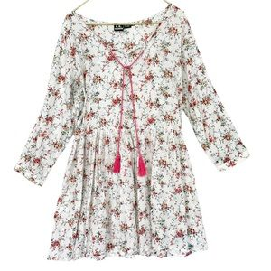 VINTAGE 90s White Floral Sheer Gauze Cotton Long Sleeve BabyDoll Dress